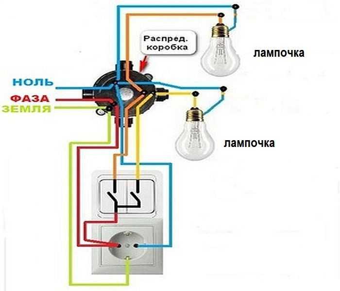 Схема соединения выключателя и лампочки с розеткой