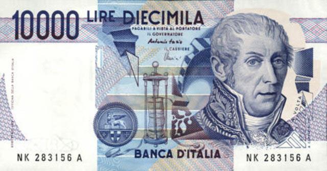 Портрет Алессандро Вольты на купюре в 10000 лир
