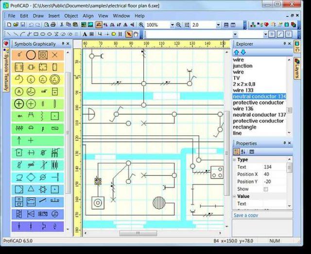 Интерфейс бесплатной программы для рисования схем ProfiCAD (Профикад)