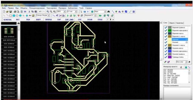 Результат работы онлайн сервиса для создания печатных плат и имитации работы электронных схем