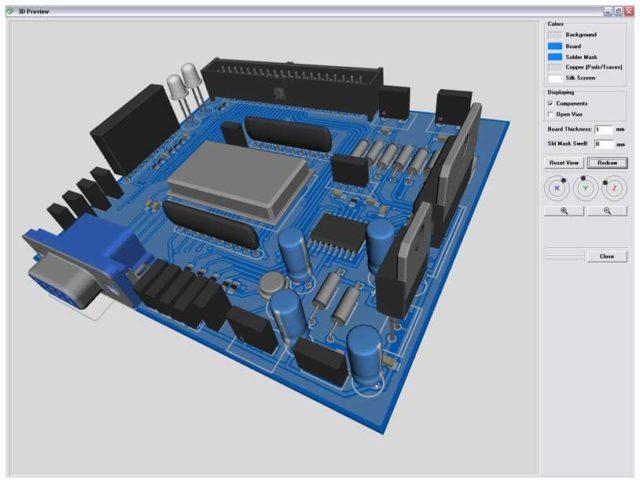 В DipTrace можно посмотреть как будет выглядеть готовое изделие в формате 3D