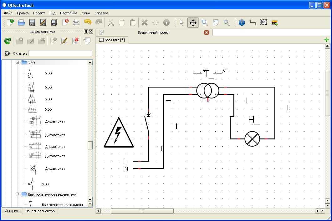 Qelectrotech программ для рисования электрических схем.