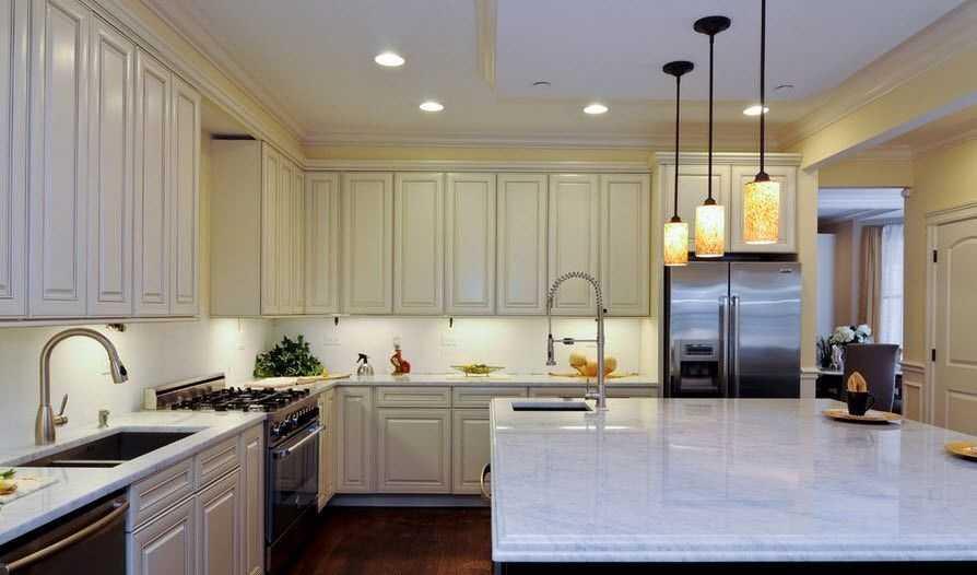 точечных в расположение фото кухне светильников
