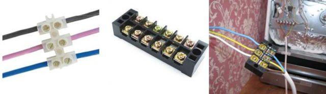 Клеммные колодки - удобны, недороги, позволяют соединять медные и алюминиевые провода, проводники разных диаметров, одно- и много- жильные
