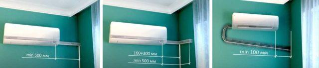 Варианты прокладки трассы хладагента если внутренний блок кондиционера находится слева от наружной стены