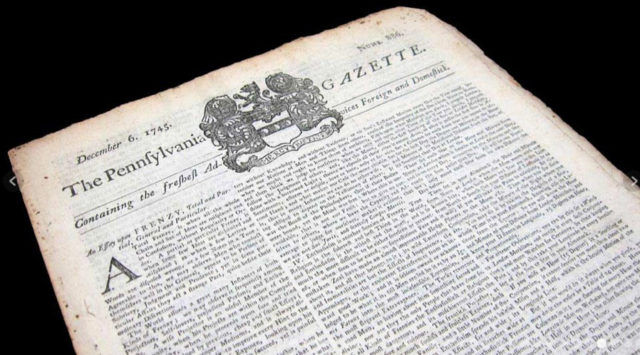 Экземпляр газеты The Pennsylvania Gazette от 6 декабря 1745 года