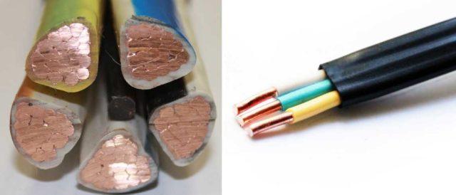 Жилы могут быть круглыми и сегментными, сам кабель по форме - круглым и плоским