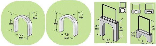 Несколько видов кабельных скоб для степлера