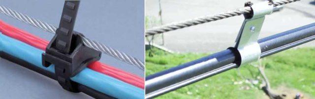 Как подвесить кабель к тросу