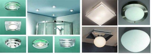Потолочные светильники для ванной могут быть встроенными (слева) и накладными (справа)