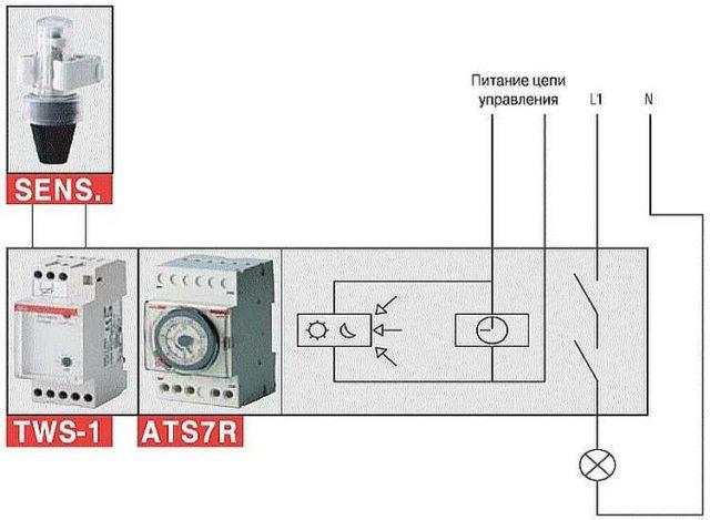 Схема подключения реле времени и датчика освещенности (фотореле)