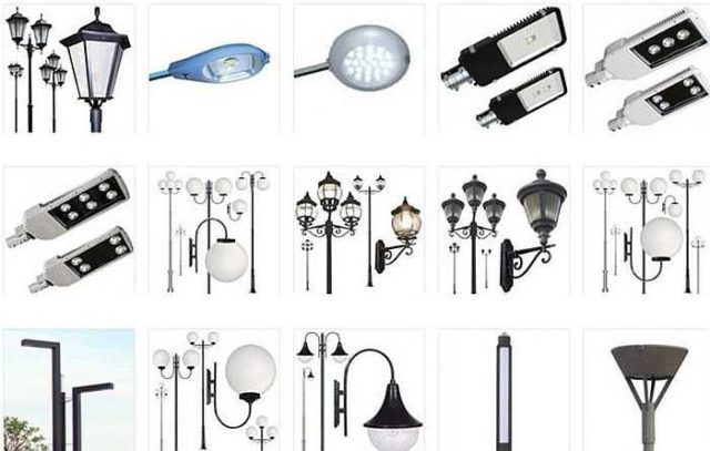 Разные по стилю и оформлению лампы для освещения участка и придомовой территории