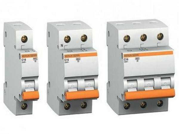 Автоматические выключатели - однополюсный, двухполюсный и трехполюсный