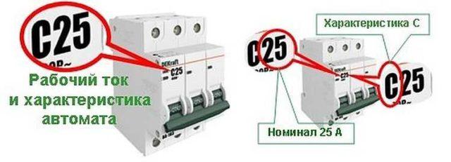 Буква возле номинального тока обозначает тип электромагнитного расщепителя