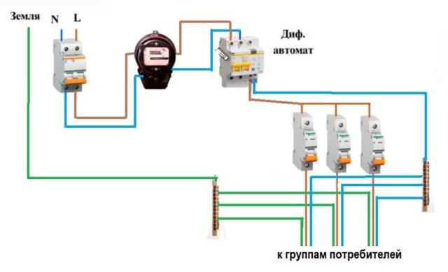 Схема подключения дифавтомата на входе