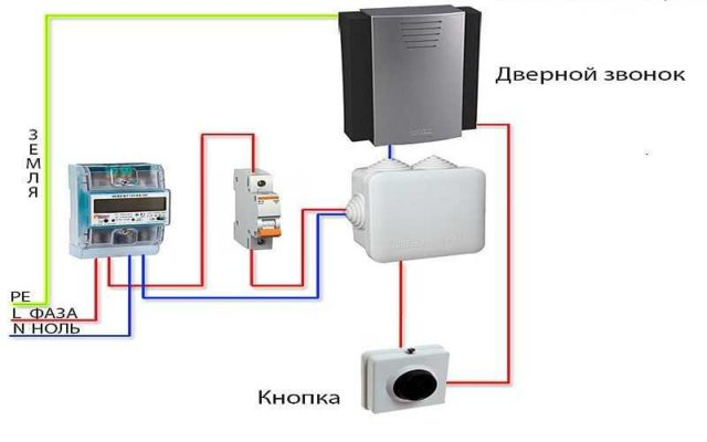 Схема подключения дверного электрозвонка