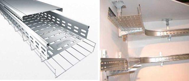 Металлические лотки иногда удобнее использовать под натяжными или навесными потолками