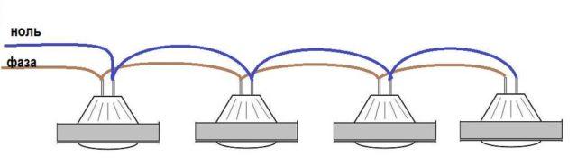 Фактическая реализация параллельного соединения шлейфным способом