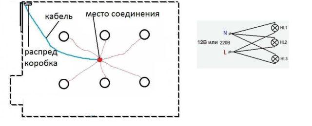 Пример исполнения лучевого подключения точечных светильников