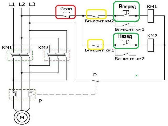 Схема подключения двигателя с реверсным ходом с использованием магнитного пускателя