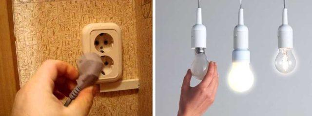 При проверке сопротивления изоляции домашней электропроводки выключить все приборы, вытащив их из розеток, выкрутить лампочки