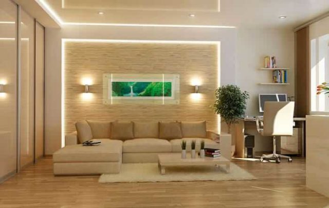 Над диваном и креслами, стоящими недалеко друг от друга, бра монтируются на одинаковой высоте