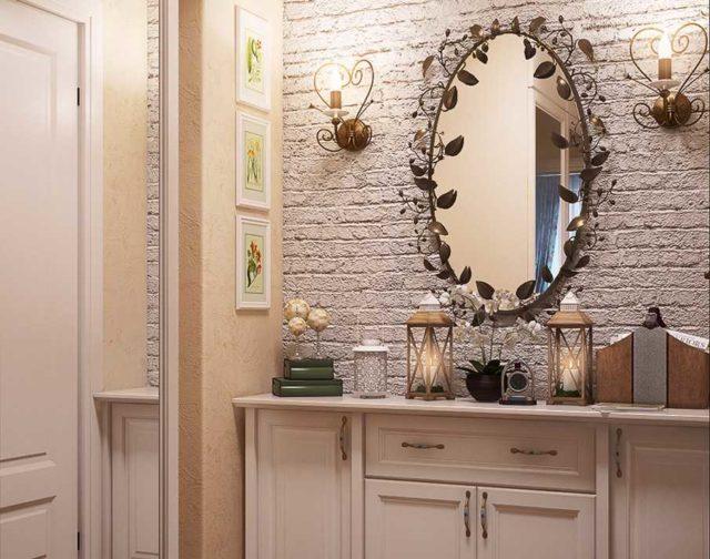 Традиционное размещение бра возле зеркала - в 15-25 см по бокам