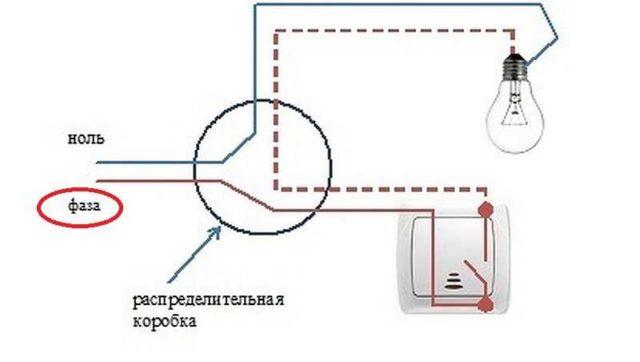 Правильное подключение лампочки через выключатель: на него должна заходить фаза