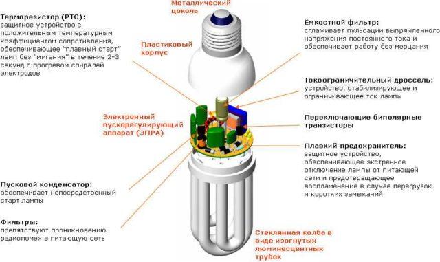 Устройство компактной люминесцентной лампы