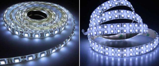 Это белая лента со светодиодами разных размеров