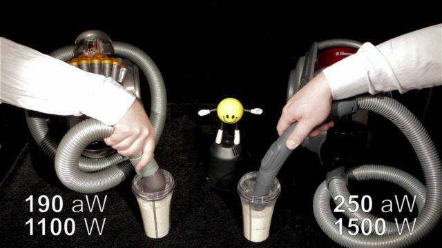 Мощность потребляемая пылесосом и мощность всасывания - это разные величины