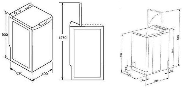 Размеры стиральных машин с вертикальной загрузкой не отличаются большим разнообразием