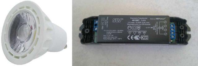 """Точечные светильники на 12 В могут подключаться к общему мощному трансформатору или иметь """"индивидуальный"""""""