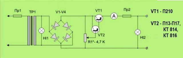 Схема зарядного устройства для автомобильного аккумулятора с возможностью ручной регулировки тока заряда