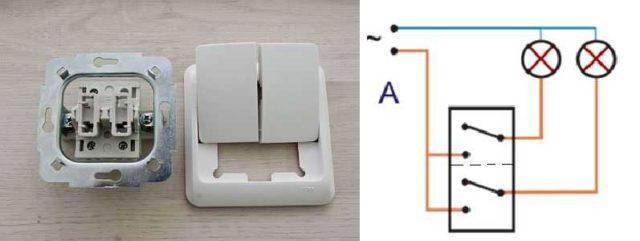 Как устроен двойной выключатель света