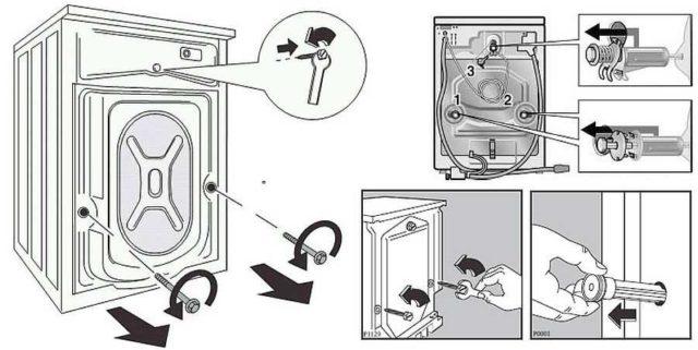 Как снимать транспортировочные болты со стиральной машины