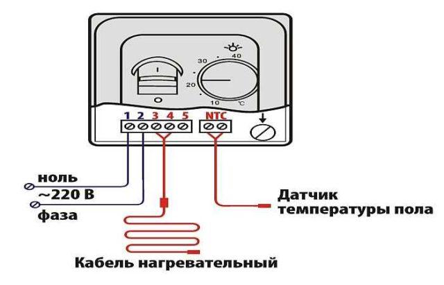Теплый пол под плитку - подключение к терморегулятору