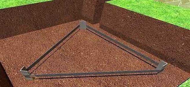 Чаще всего заземление в частном доме делают с контуром в виде треугольника