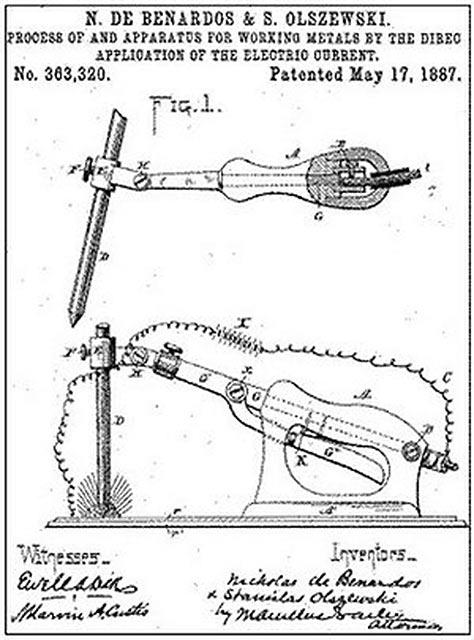 Патент на способ дуговой электросварки «Электрогефест», выданный Николаю Бенардосу и Станиславу Ольшевскому 17 мая 1887 года