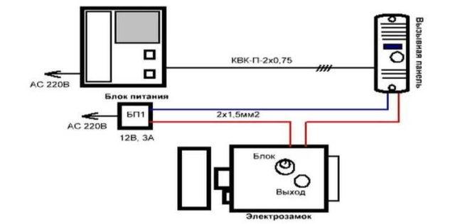Электрическая схема подключения аудиодомофона
