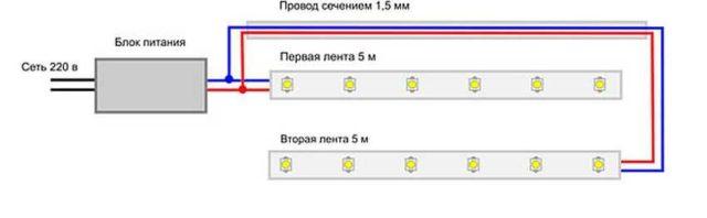 Как подключить две светодиодные ленты к 220 В. Один из вариантов