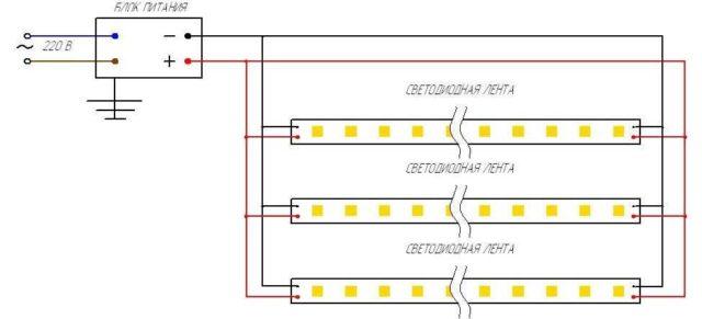 Как подключить светодиодную ленту к 220 В и не потерять в яркости свечения