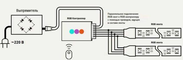 Подключение двух RGB лент к одному блоку питания и контроллеру