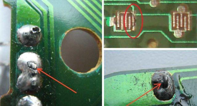 Примеры плохой пайки и трещин на дорожках