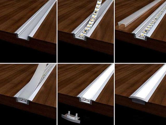 Профили для монтажа светодиодной ленты есть самые разные. Это - пример встраиваемого в мебель