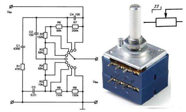 Дискретный переменный резистор (со ступенчатой регулировкой) и его обозначение на схеме