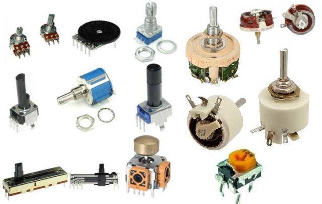 Переменные резисторы бывают разных видов