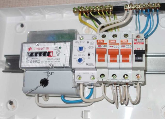 Пример установки в щите однофазной сети