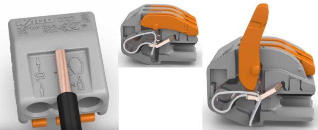 Соединительная клемма WAGO 222 создана для удобного соединения проводов