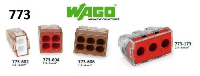 Соединительная клемма WAGO 773 серии рассчитана на провода большего сечения